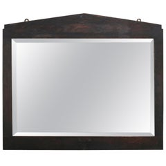 Antique Arts & Crafts Stickley School Mission Oak Bevelled Wall Mirror