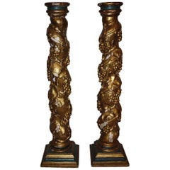 Pair of 19th Century Spanish Hand-Carved Wooden Columns