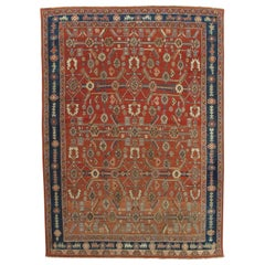 Antique Persian Serapi Carpet, Handmade Oriental Rug, Rust-Ivory Blue
