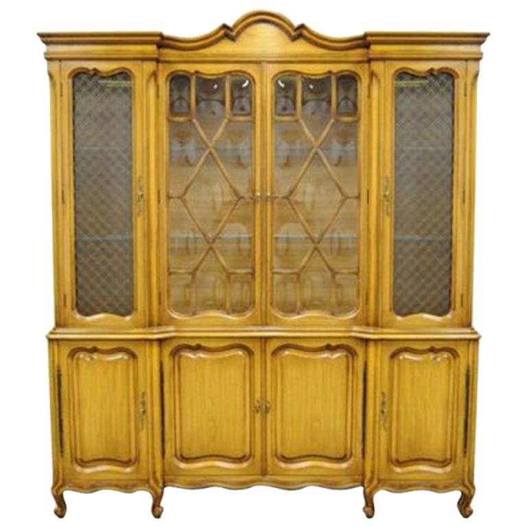 Country French Provincial Breakfront China Cabinet Walnut Fruitwood Bubble Gl For