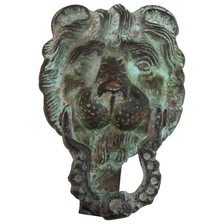 19th Century Lion Door Knocker in Bronze For Sale