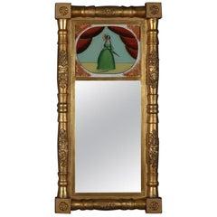 Antique Empire Giltwood Églomisé Portrait Trumeau Wall Mirror, circa 1830