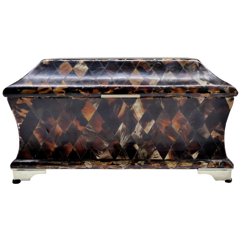 Large Tessellated Domed Horn Box with Chrome Feet