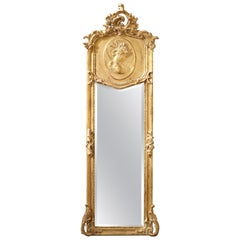 Louis XV Style Giltwood and Plaster Mirror from France