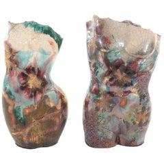 Iridescent Ceramic Torso Bust Vases, Pair