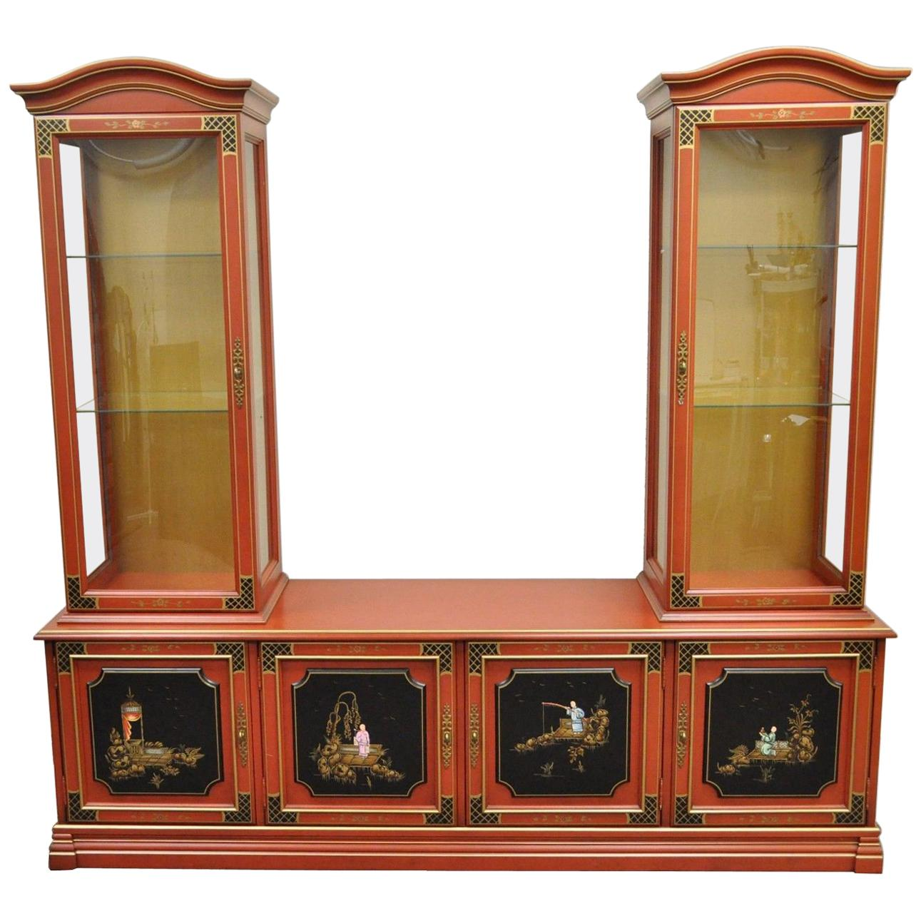 Vintage Jasper Oriental Chinoiserie Red Display China Cabinet Curio  Credenza For Sale
