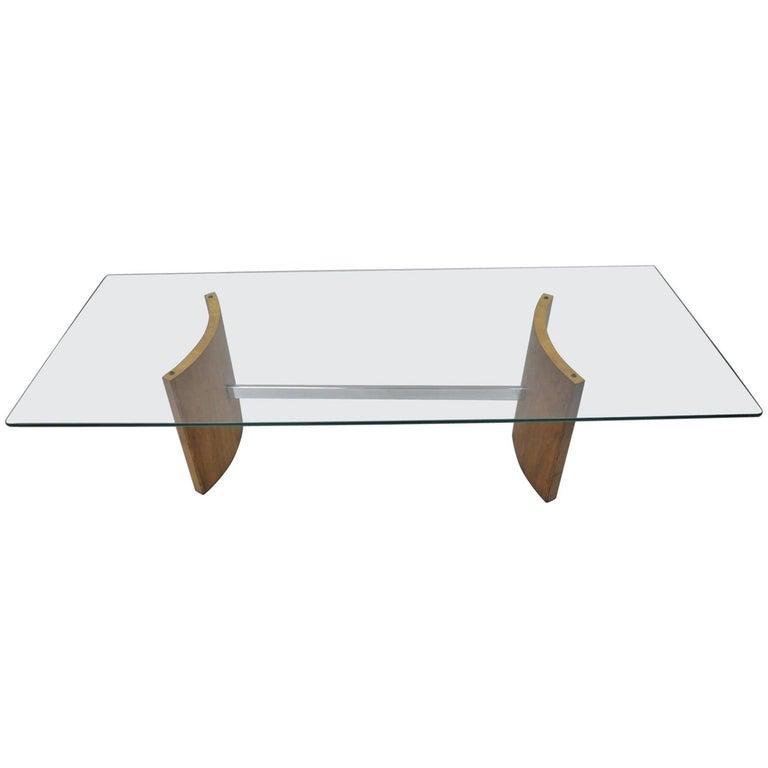 Vladimir Kagan Selig Danish Modern Propeller Coffee Table Walnut Chrome Glass