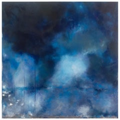 "Blue Abstract Painting Titled ""Essence"" by American Artist Emily Klima"