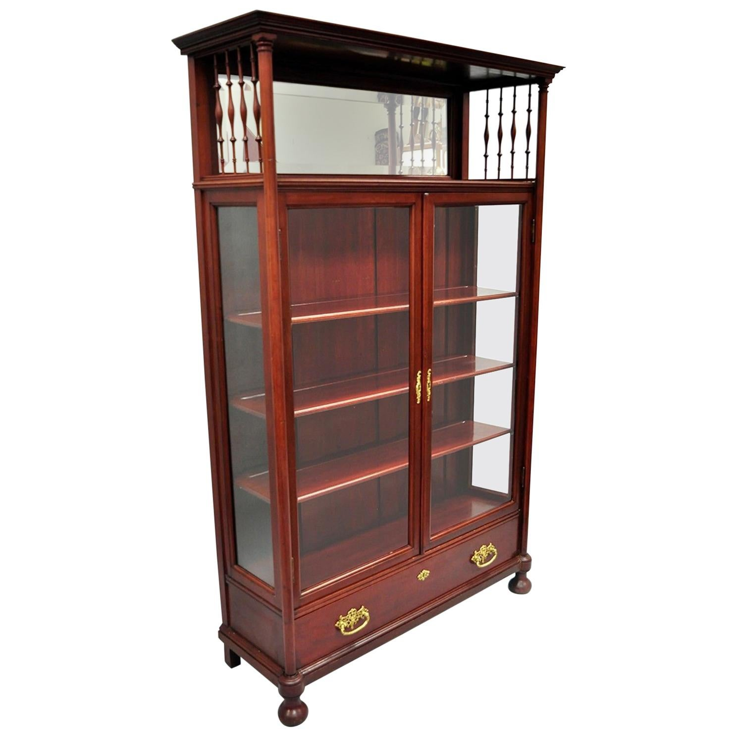 Antique Victorian Two Door Mahogany U0026amp; Glass Bookcase Curio Cabinet  Display Shelf
