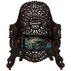 19th Century Anglo-Indian Carved Rosewood Chair