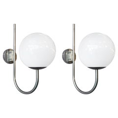 Pair of Italian White Globe Sconces by Sergio Mazza