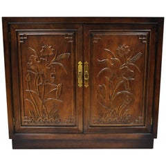 Henredon Folio 16 Asian Chinoiserie Floral Carved Oriental Server Cabinet USA