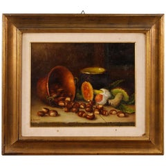 Italian Signed Still Life Oil On Masonite Painting From 20th Century