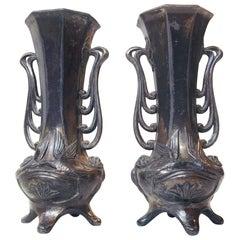 Pair of German Jugendstil Pewter Vases, 1910s