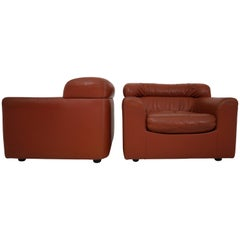 1970 Durlet Cognac Buffalo Neck-Leather Armchairs
