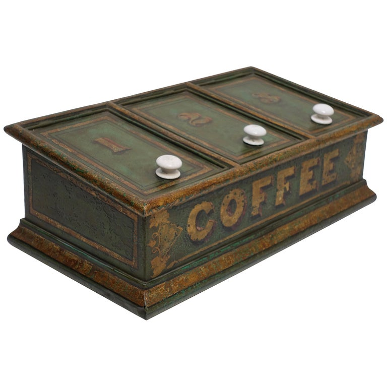 Green Tole Painted Coffee Bin Store Display Dispenser, England, 19th Century For Sale