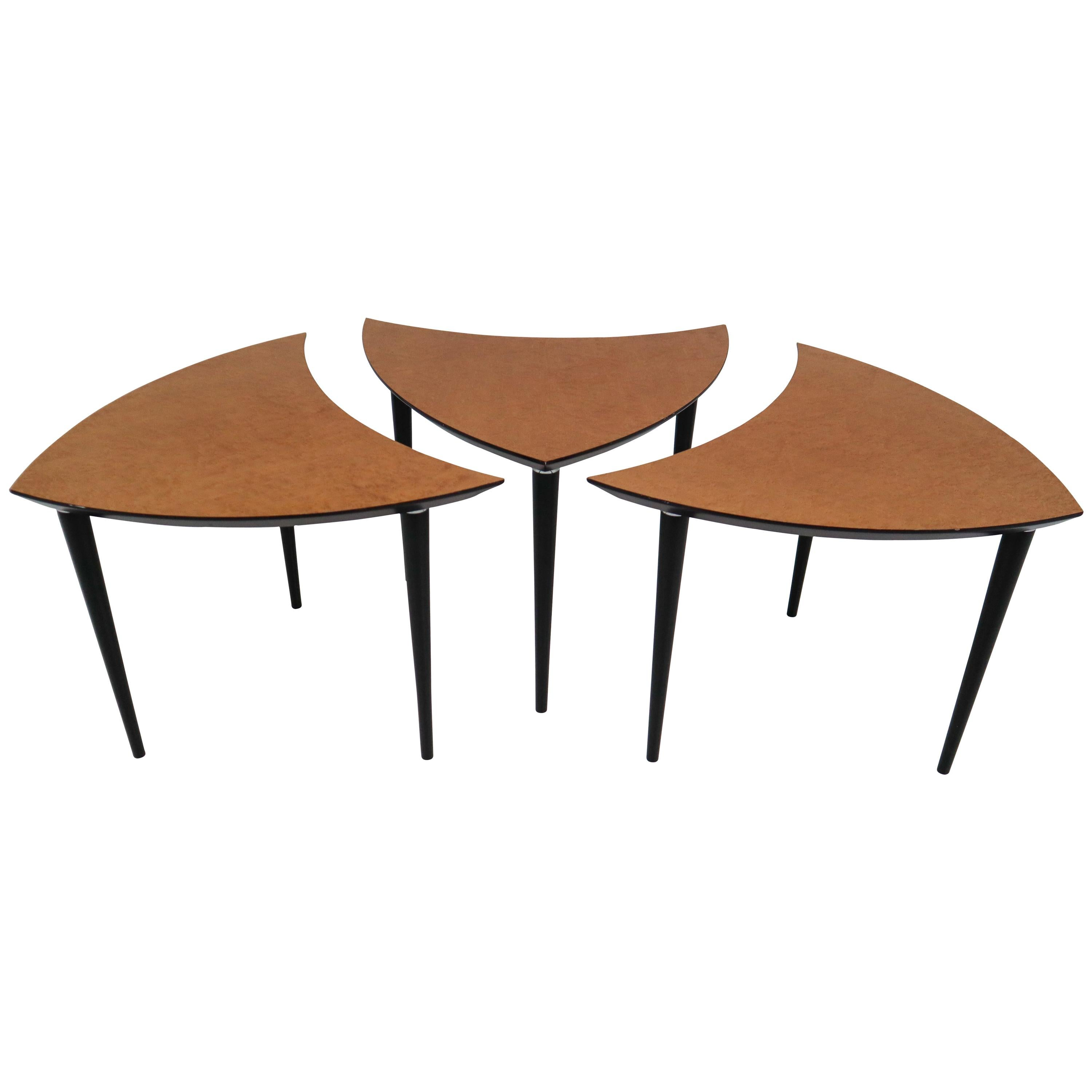 1960 Small Italian Triangle Shaped Coffee Tables For Sale