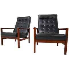 1960 Leather Rosewood Armchairs Made in England