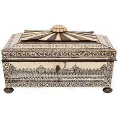 19th Century Anglo Indian Bone and Horn Sewing Box