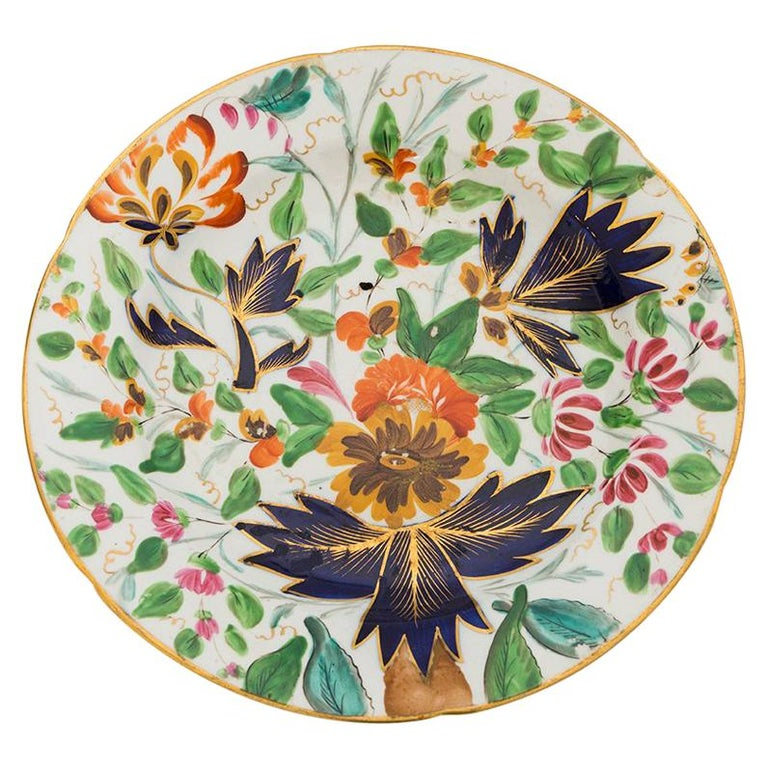 19th Century Porcelain Plate with Floral Design For Sale