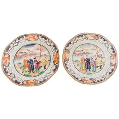 19th Century Pair of Chinese Export Plates