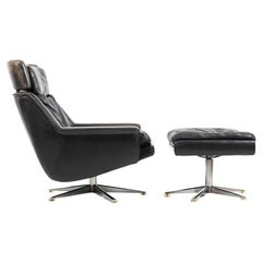 Danish Leather Swivel Lounge Chair and Ottoman by Werner Langenfeld for ESA
