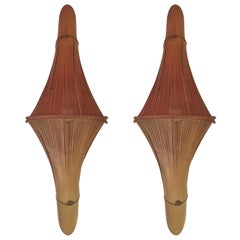 Elegant Faceted Bamboo Sconces 1950 Caribbean Islands