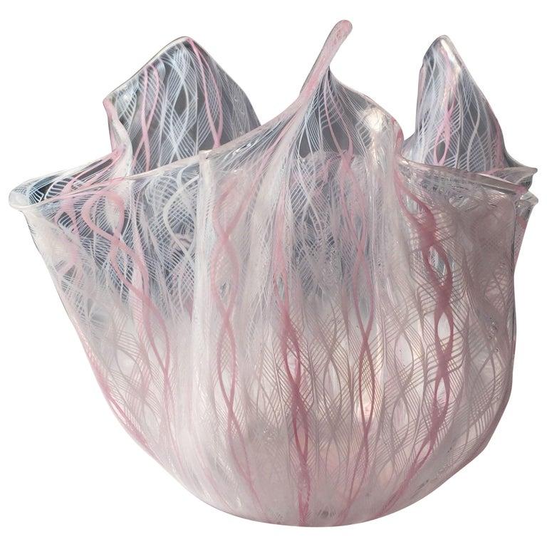 Signed Venini Fazzoletto Handkerchief Glass Vase by Fulvio Bianconi For Sale