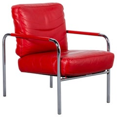 Zanotta Susanna Leather Armchair Red One-Seat Chair