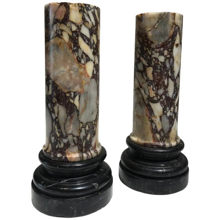Grand Tour Pair of Pedestal Classical Roman Specimen Marble Breccia di Sciro