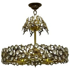 French Glass and Brass Chandelier, circa 1950s
