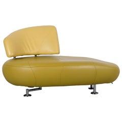 Leolux Kikko Designer Sofa Leather Green Two-Seat Couch Modern