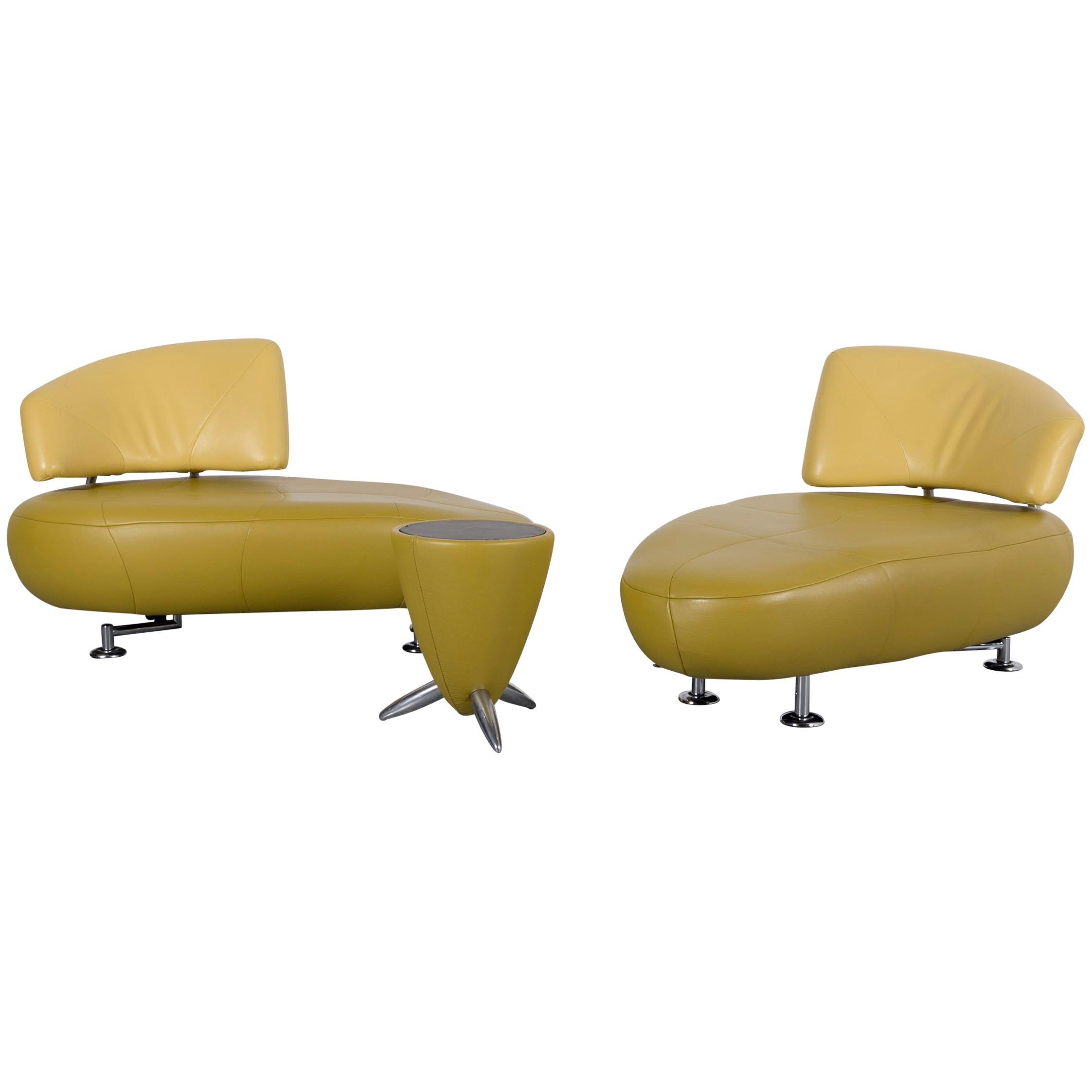 Leolux Kikko Designer Sofa Set Of Two Seat And Bench In Green