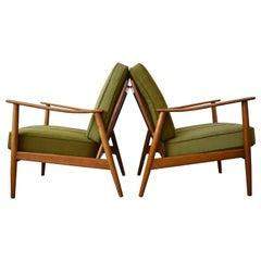 Pair of Danish Teak and Beech Lounge Chairs, 1950s