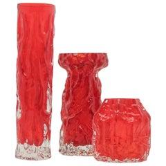 Vintage Ingrid Rock Crystal Glass Vases, Beautiful Color Deep Red, Germany