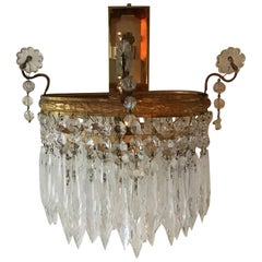 Very Elegant Single Wall Sconce Attributed to E.Palme, Gilt Brass & Glass, 1960s