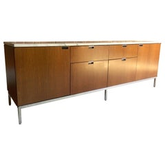 Florence Knoll Credenza Sideboard Walnut & Carrara Marble Original, 1970s