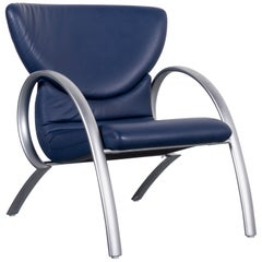 Rolf Benz 515 Designer Leather Armchair Blue One-Seat