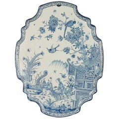 Oval Plaque in Blue and White Dutch Delftware