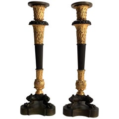 Pair of Patinated Gilt Bronze French Empire Candlestick