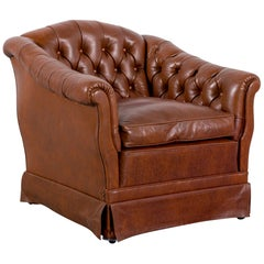 Chesterfield Leather Armchair Brown One-Seat Vintage Retro