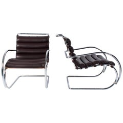 Pair of Dark Brown Leather MR Lounge Armchairs by Mies Van Der Rohe for Knoll
