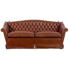 Chesterfield Leather Sofa Brown Two-Seat Vintage Retro
