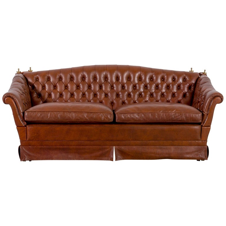 Chesterfield Leather Sofa Brown Two Seat Vintage Retro