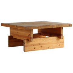 Roland Wilhelmsson, Modernist Coffee Table, Solid Pine, 1960s Sweden