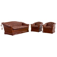 Chesterfield Leather Sofa Armchair Set Brown of Two-Seat Couch and Two Chairs