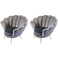 Minotti and Radice Midcentury Italian Flowers Shaped Pair of Armchairs, 1950s