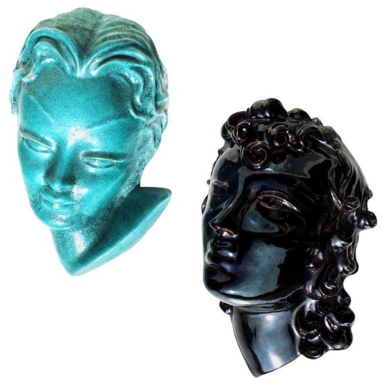1920s by De Salvo for Casa Dell'Arte Albisola Pottery Art Deco Pair of Figure