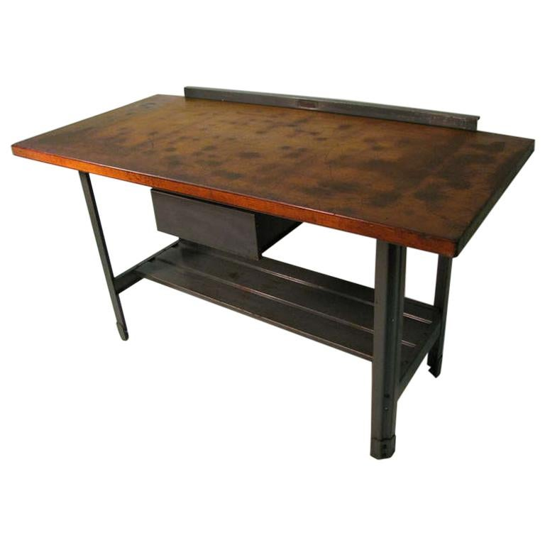 Steel and Wood Industrial Machine Shop Work Table, Desk or Kitchen Island