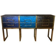 Late 20th Century Wood Brass & Iridescent Blu/Grey Murano Glass Chest of Drawers
